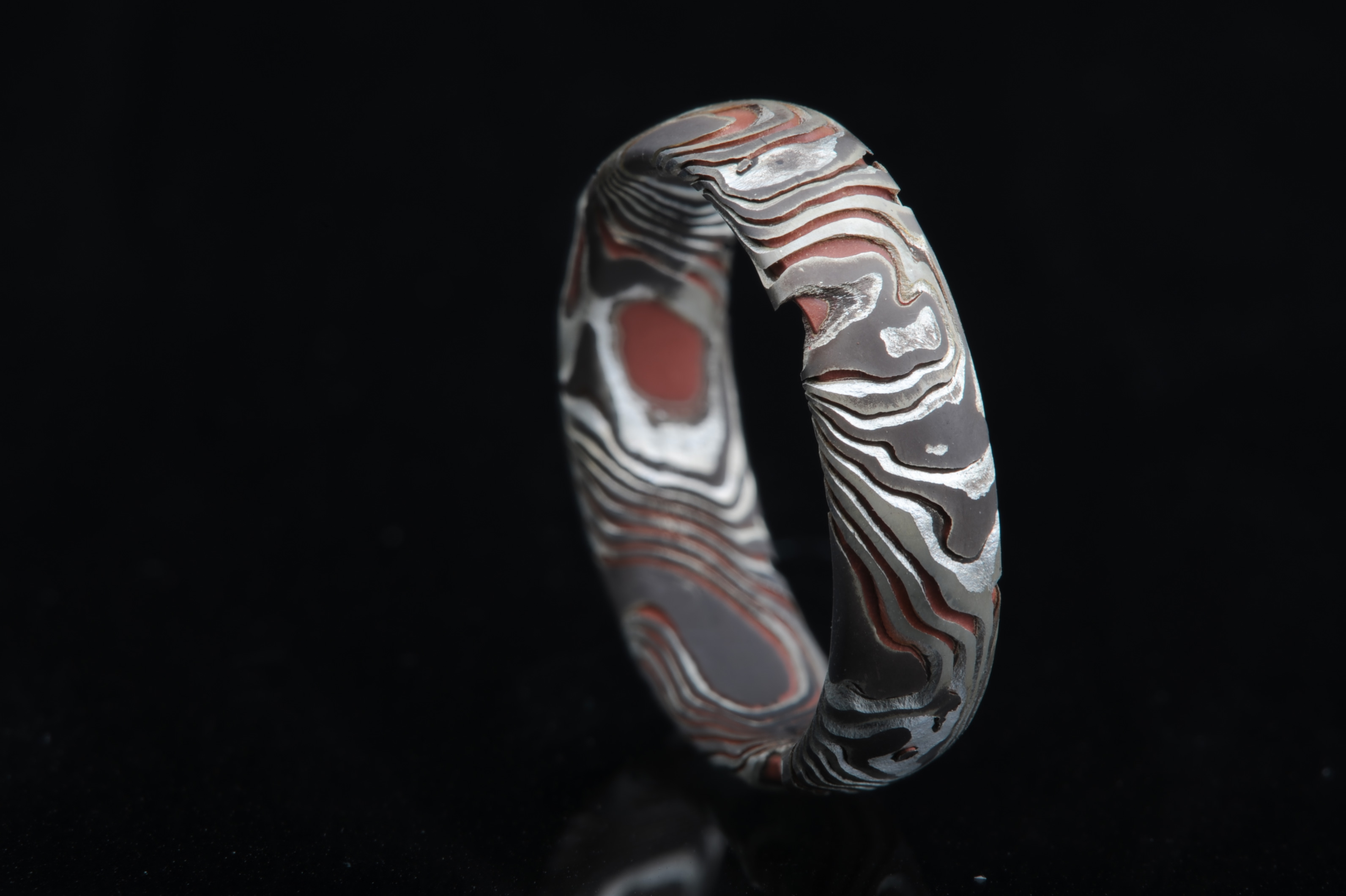 bands rings gane wedding white ring titanium gold mokume mens mg